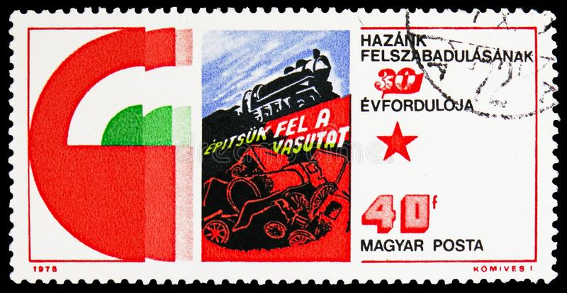 Building the railroads, Hungary`s Liberation from Fascism, 30th anniversary serie, circa 1975 royalty free stock photo