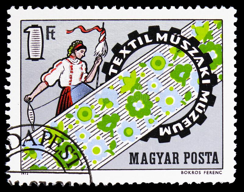 Opening of Museum of Textile Techniques, Events serie, circa 1972. MOSCOW, RUSSIA - FEBRUARY 9, 2019: A stamp printed in Hungary shows Opening of Museum of stock image