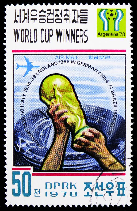 Argentina 1978, FIFA Pokal, Winner of the FIFA World Cup 1930-1978 serie, circa 1978. MOSCOW, RUSSIA - FEBRUARY 9, 2019: A stamp printed in Korea shows Argentina stock photography