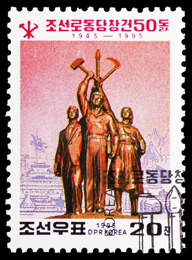 Monument, Labour Party serie, circa 1995. MOSCOW, RUSSIA - FEBRUARY 10, 2019: A stamp printed in Korea shows Monument, Labour Party serie, circa 1995 stock images