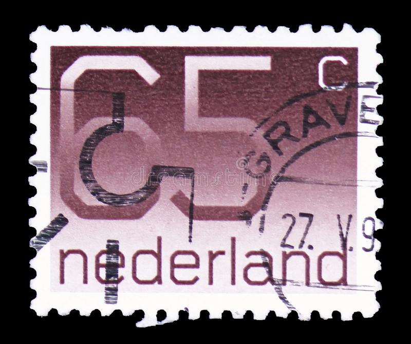 Numeral, 65 Dutch cents, Figure type 'Crouwel ' serie, circa 1986 stock image
