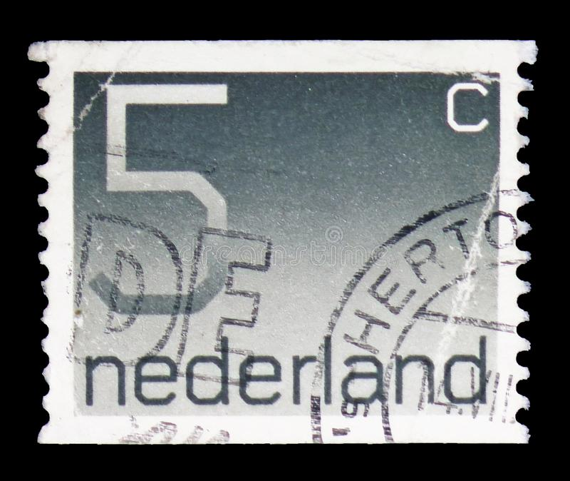Numeral, 5 Dutch cents, Figure type 'Crouwel ' serie, circa 1976 stock photography