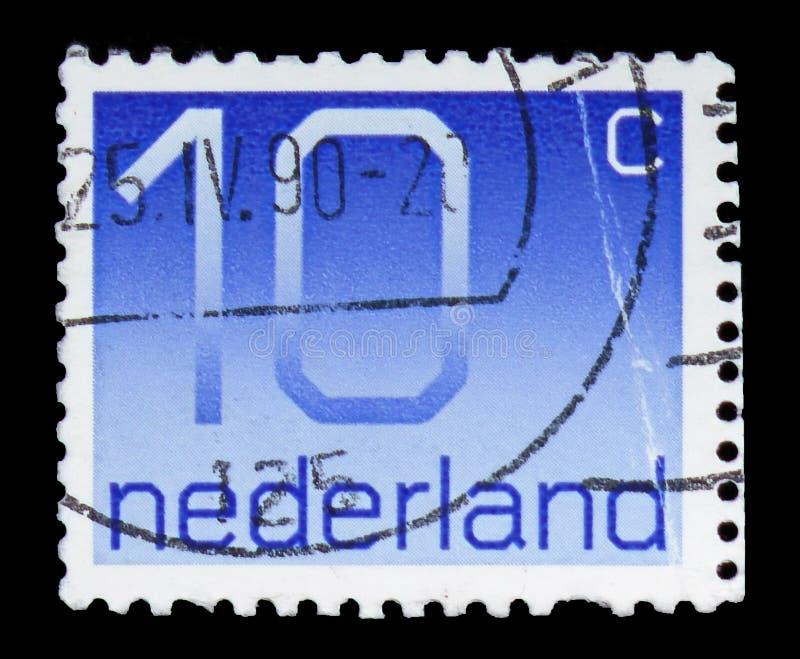Numeral, 10 Dutch cents, Figure type 'Crouwel ' serie, circa 1976 stock photo
