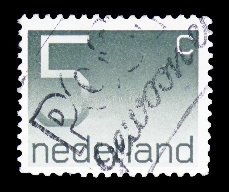 Numeral, 5 Dutch cents, Figure type 'Crouwel ' serie, circa 1976 royalty free stock images