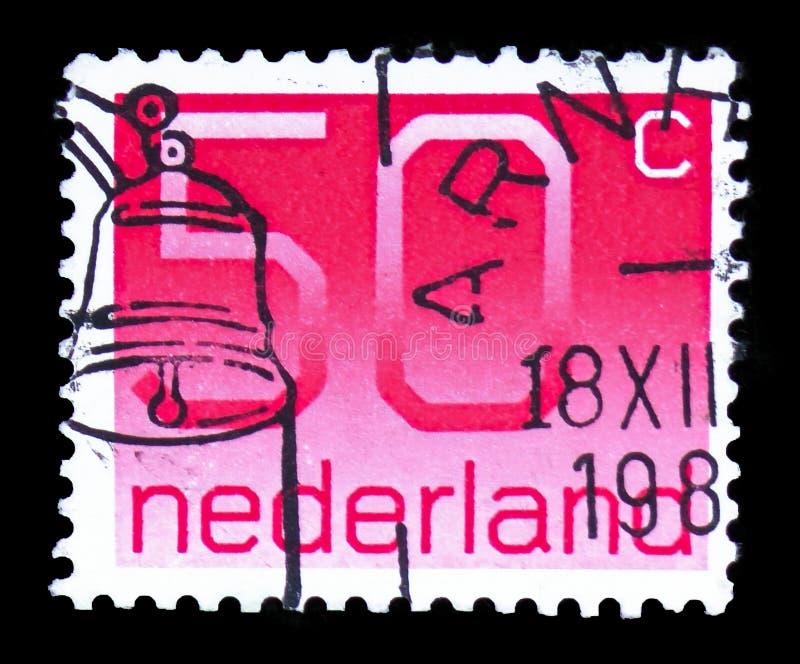 Numeral, 50 Dutch cents, Figure type 'Crouwel ' serie, circa 1980 stock photos