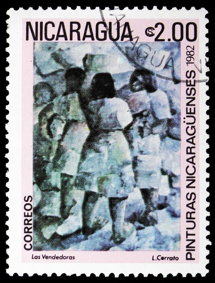 Saleswomen by L. Cerrato, Paintings serie, circa 1982. MOSCOW, RUSSIA - FEBRUARY 10, 2019: A stamp printed in Nicaragua shows Saleswomen by L. Cerrato, Paintings stock photo