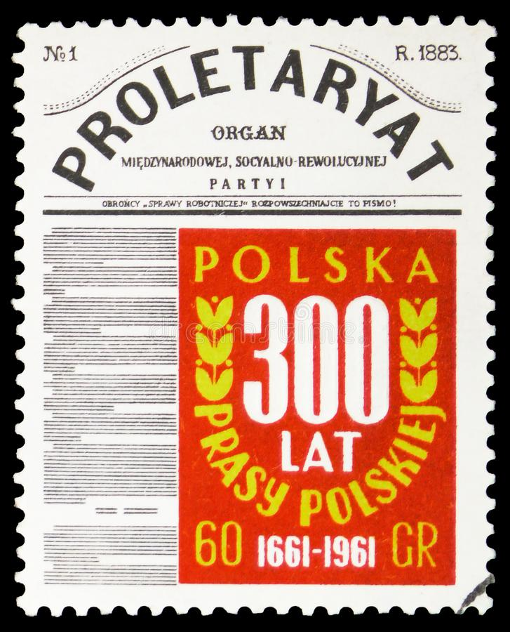 'Proletaryat ' first issue 1983, 300th anniversary of Polish newspaper Merkuriusz serie, circa 1961. MOSCOW, RUSSIA - FEBRUARY 10, 2019: A stamp printed in stock photography