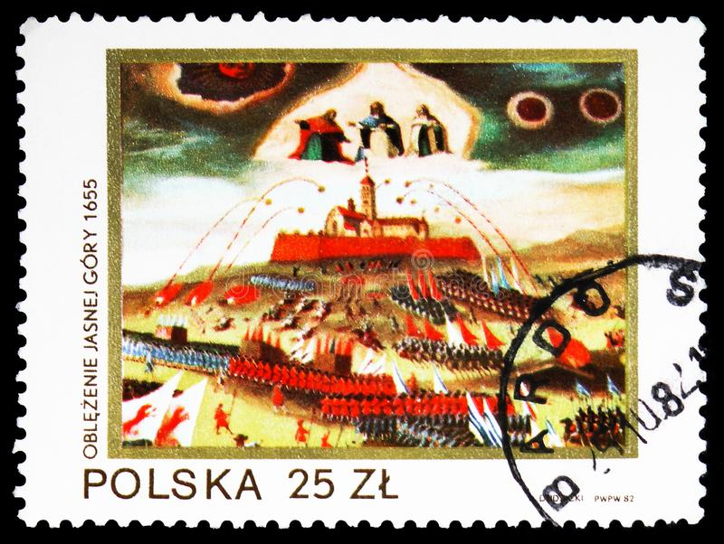Siege of Jasna Gora by Swedes, 1655, Black Madonna of Jasna Gora serie, circa 1982. MOSCOW, RUSSIA - FEBRUARY 10, 2019: A stamp printed in Poland shows Siege of royalty free stock image