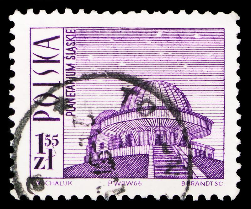 Silesian Planetarium, Tourist Attractions serie, circa 1966. MOSCOW, RUSSIA - FEBRUARY 10, 2019: A stamp printed in Poland shows Silesian Planetarium, Tourist royalty free stock image