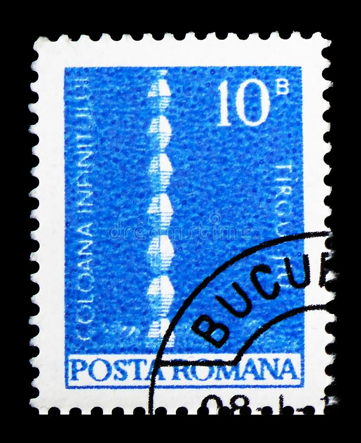 Brancusi: Infinity Column, Definitives - Monuments serie, circa 1973. MOSCOW, RUSSIA - FEBRUARY 14, 2019: A stamp printed in Romania shows Brancusi: Infinity stock image