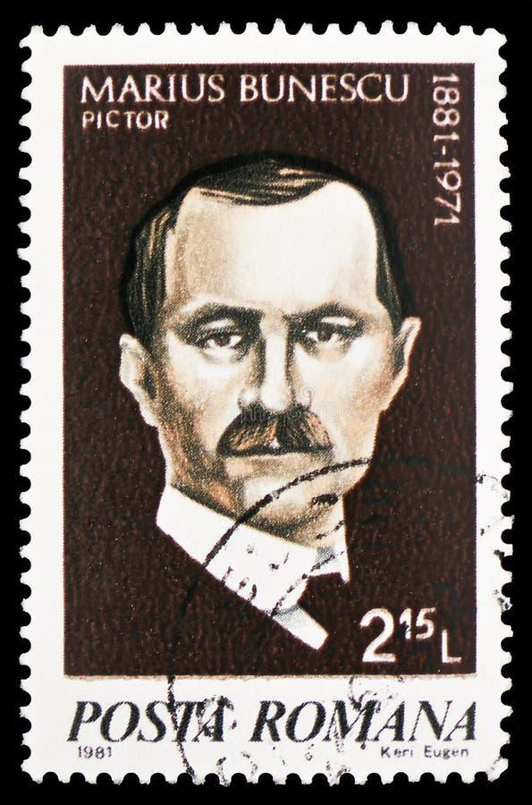 Marius Bunescu, Cultural Anniversaries serie, circa 1981. MOSCOW, RUSSIA - FEBRUARY 10, 2019: A stamp printed in Romania shows Marius Bunescu, Cultural royalty free stock image
