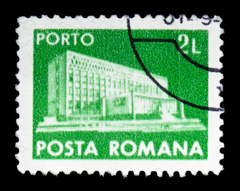New main post building, Post and telecommunications IV serie, circa 1982. MOSCOW, RUSSIA - FEBRUARY 14, 2019: A stamp printed in Romania shows New main post royalty free stock photo