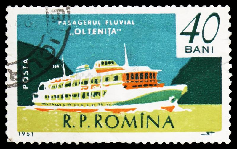 Oltenita, Danube passenger vessel, Merchant Navy serie, circa 1961. MOSCOW, RUSSIA - FEBRUARY 22, 2019: A stamp printed in Romania shows `Oltenita` Danube royalty free stock image