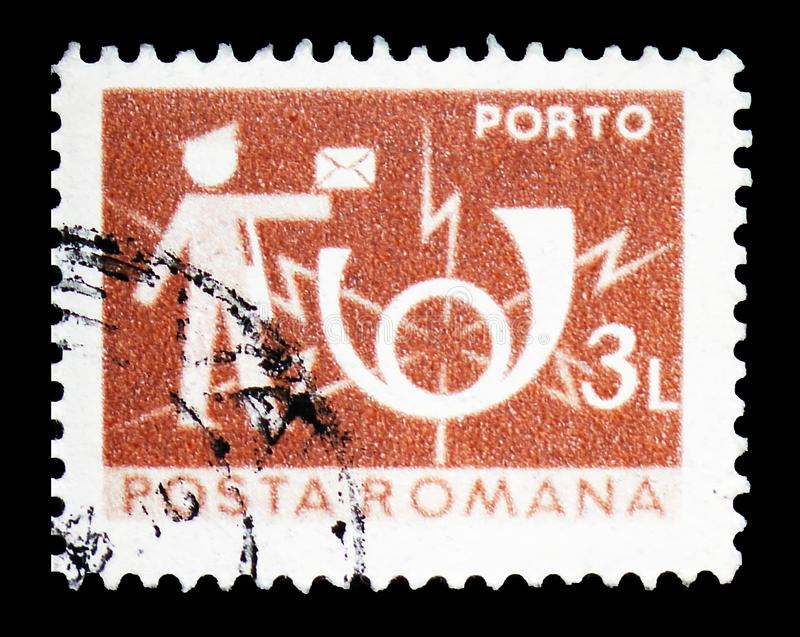 Postman and Posthorn, Post and telecommunications IV serie, circa 1982. MOSCOW, RUSSIA - FEBRUARY 14, 2019: A stamp printed in Romania shows Postman and Posthorn royalty free stock photo