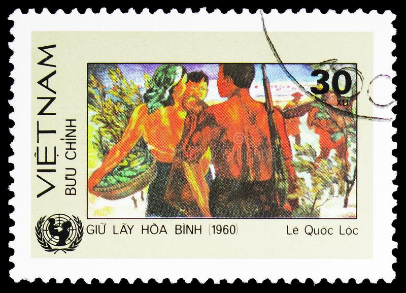 Preserving world peace - painting by Le Quoc Loc, Vietnamese plastic arts serie, circa 1984. MOSCOW, RUSSIA - FEBRUARY 10, 2019: A stamp printed in shows royalty free stock photo