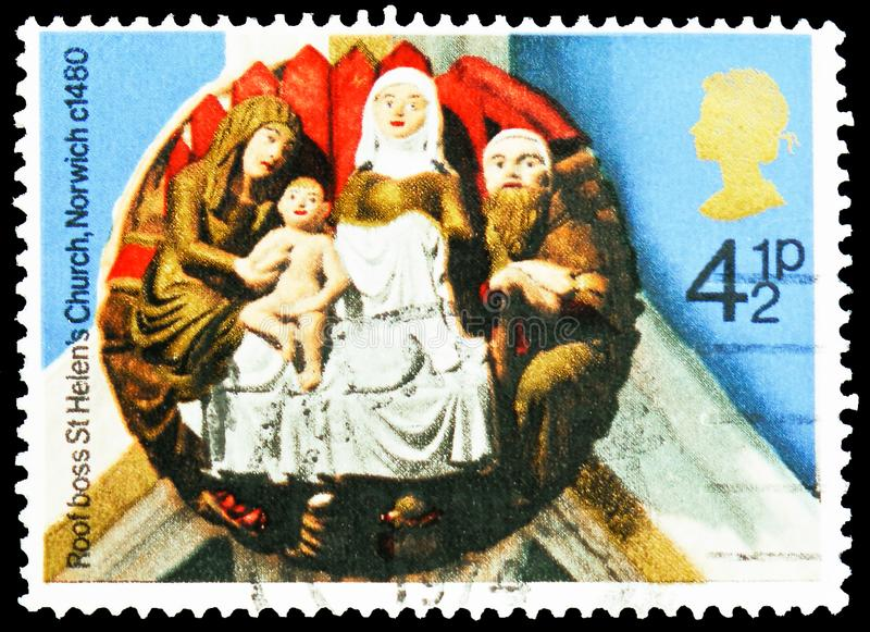 `The Nativity` St Helen`s Church, Norwich, 1480, Christmas 1974 - Church Roof Bosses serie, circa 1974. MOSCOW, RUSSIA - FEBRUARY 21, 2019: A stamp printed in stock image
