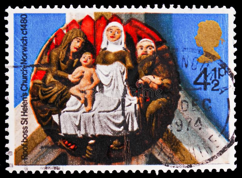 `The Nativity` St Helen`s Church, Norwich, 1480, Christmas 1974 - Church Roof Bosses serie, circa 1974. MOSCOW, RUSSIA - FEBRUARY 21, 2019: A stamp printed in stock images