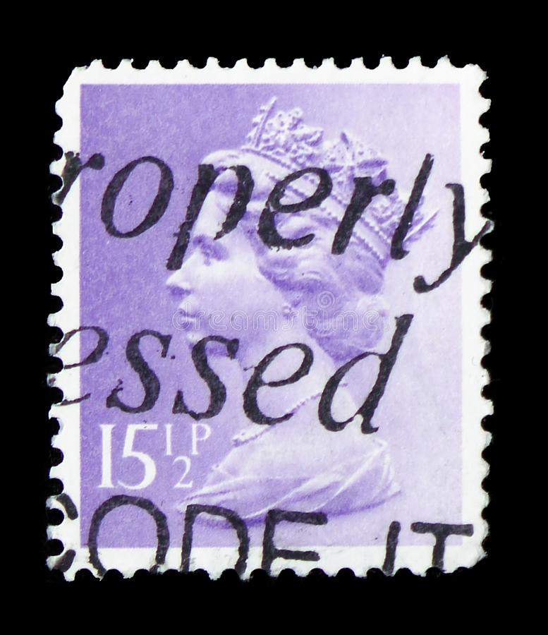 Queen Elizabeth II - Decimal Machin - Normal Perforations serie, circa 1982. MOSCOW, RUSSIA - FEBRUARY 14, 2019: A stamp printed in United Kingdom shows Queen royalty free stock photo