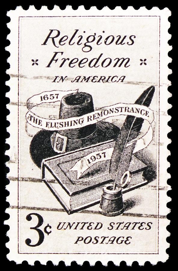 Bible, Pilgrim Hat and Quill Pen, Religious Freedom Issue serie, circa 1957. MOSCOW, RUSSIA - FEBRUARY 22, 2019: A stamp printed in United States shows Bible stock images