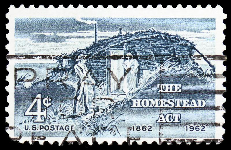 The Homestead Act, Homestead Act Centenary Issue serie, circa 1962. MOSCOW, RUSSIA - FEBRUARY 21, 2019: A stamp printed in United States shows The Homestead Act stock images
