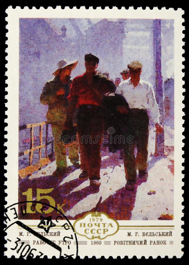 Workers\' Morning (1960) by Mikhail Belsky, Fine Art of Ukraine serie, circa 1979. MOSCOW, RUSSIA - FEBRUARY 20, 2019: A stamp printed in USSR (Russia) shows \' royalty free stock photo