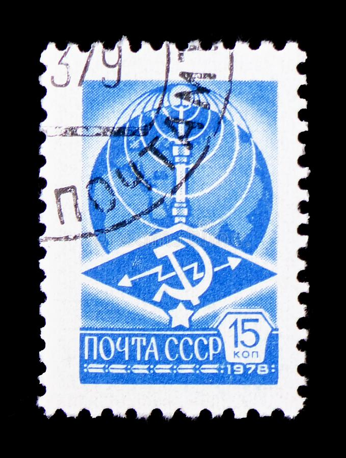 Globe and Television tower Ostankino, 12th Definitive Issue serie, circa 1978. MOSCOW, RUSSIA - FEBRUARY 9, 2019: A stamp printed in USSR (Russia&#x29 stock photo