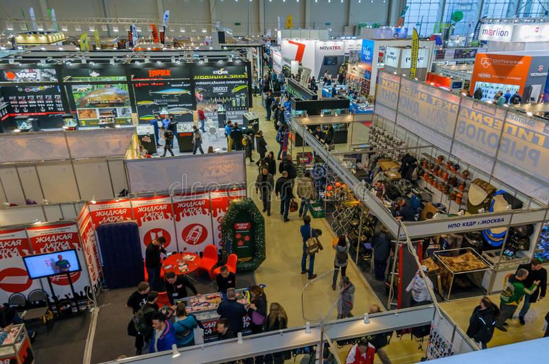 Moscow, Russia - February 25, 2017: Top view of the exhibition pavilion Hunting and fishing in Russia royalty free stock image