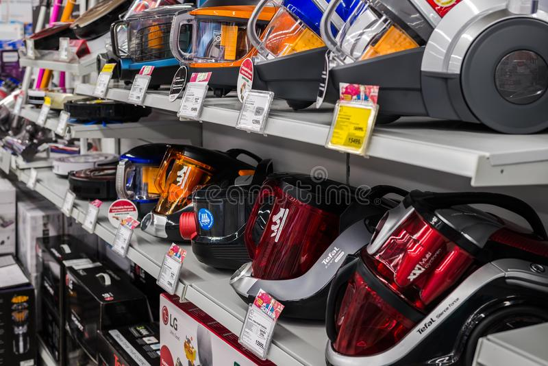 Moscow, Russia - February 20, 2018. Vacuum cleaners in electronics store Eldorado royalty free stock images