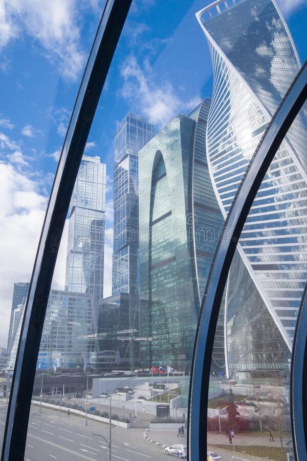 View on high-rise mirror towers of modern office buildings business center of Moscow City from. MOSCOW, RUSSIA - FEBRUARY 29, 2020: View on high-rise mirror royalty free stock images