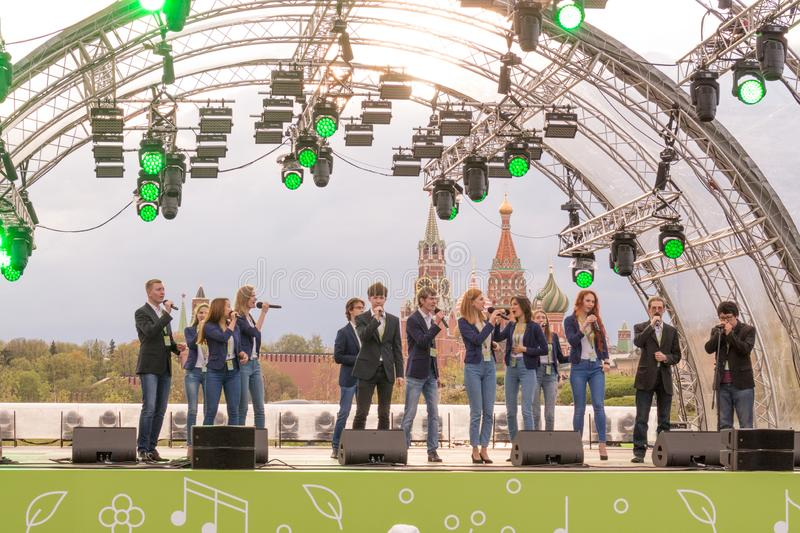 Moscow, Russia: Festival acappella Moscow Spring. Moscow, Russia - May 05. 2019: Festival acappella Moscow Spring. Zaryadye. Choir singers performance royalty free stock photo