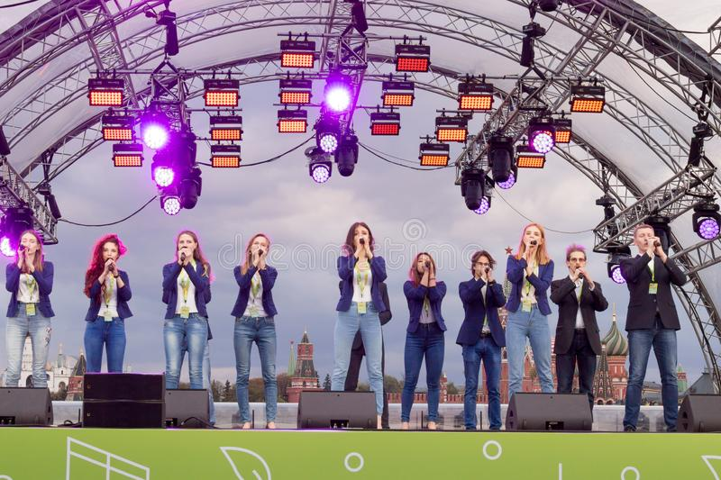Moscow, Russia: Festival acappella Moscow Spring. Moscow, Russia - May 05. 2019: Festival acappella Moscow Spring. Zaryadye. Choir singers performance royalty free stock images