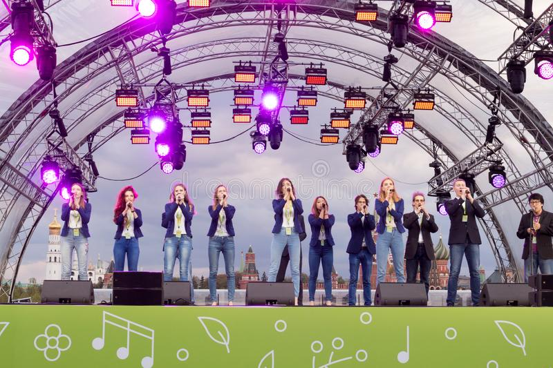 Moscow, Russia: Festival acappella Moscow Spring. Moscow, Russia - May 05. 2019: Festival acappella Moscow Spring. Zaryadye. Choir singers performance stock image