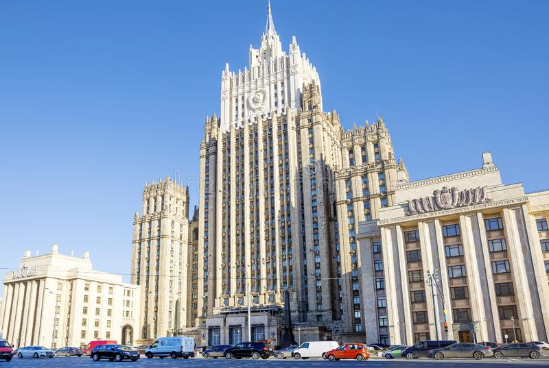 Moscow, Russia, the foreign Ministry building. The building of the Ministry of foreign Affairs is one of the seven buildings included in the list of `Stalin stock photos