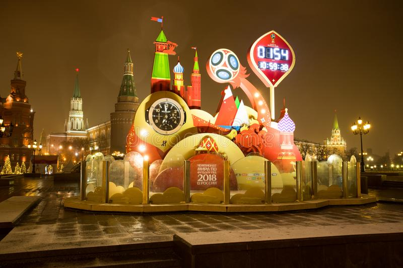 Moscow, Russia - January 01, 2018: Clock Countdown To World Cup- stock images