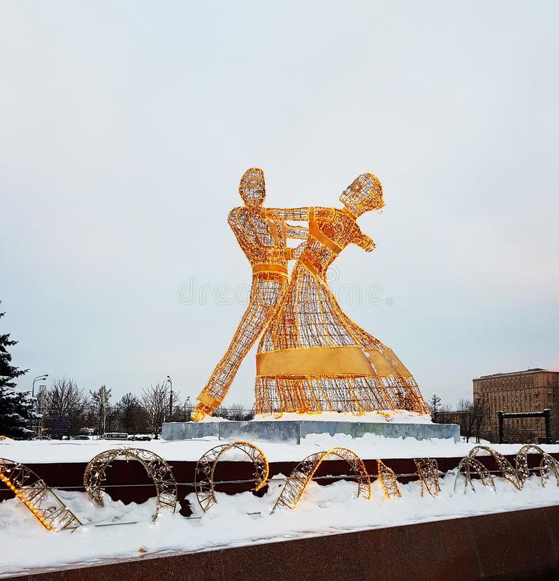 Moscow, Russia - January 2018: New Year`s and Christmas figures installations on a frosty winter day stock photography