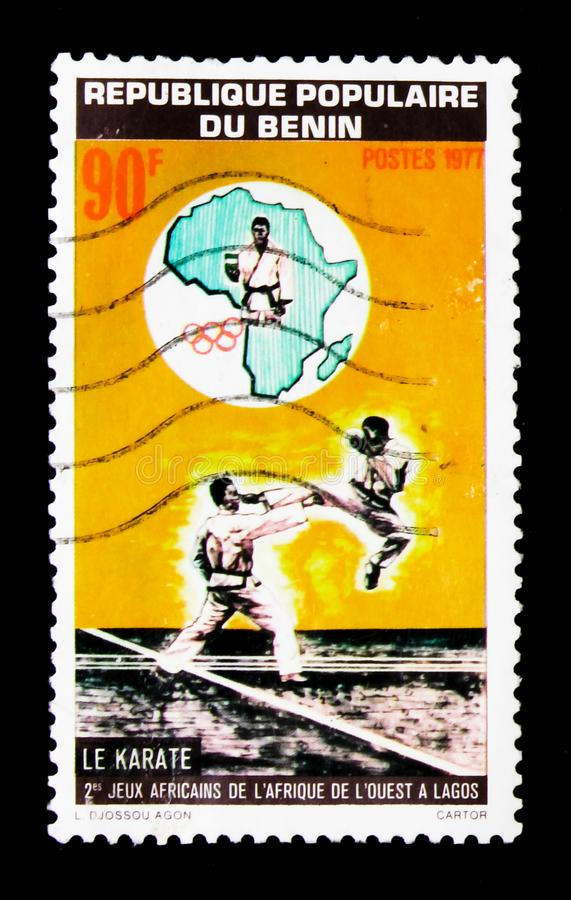 Karate, 2nd West African Games, Lagos, Nigeria serie, circa 1977. MOSCOW, RUSSIA - JANUARY 2, 2018: A stamp printed in Benin shows Karate, 2nd West African Games royalty free stock photos