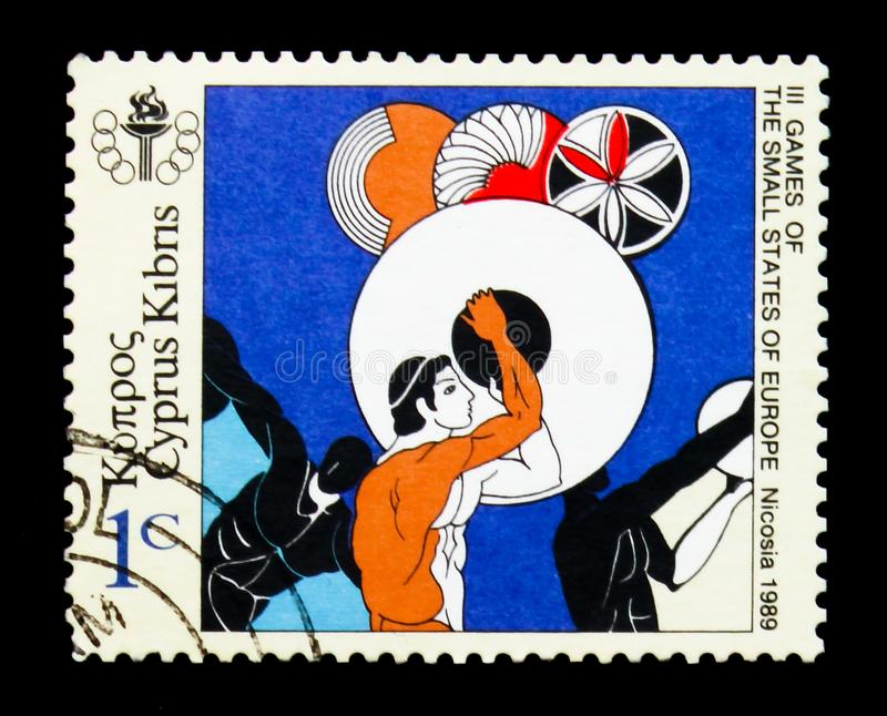 3rd Games of Small States of Europe - Discus Thrower, Sports and Events serie, circa 1989 royalty free stock image