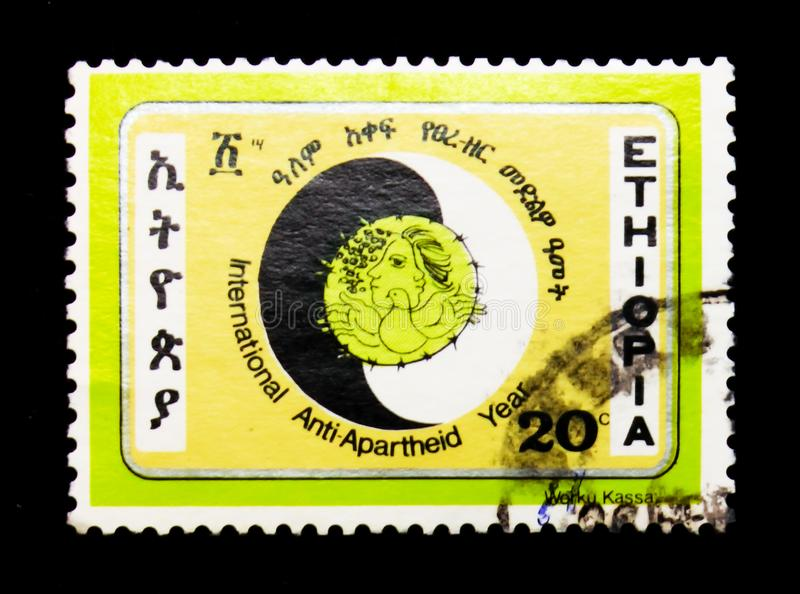 International Anti-Apartheid Year, serie, circa 1984. MOSCOW, RUSSIA - JANUARY 2, 2018: A stamp printed in Ethiopia devoted to International Anti-Apartheid Year stock photo