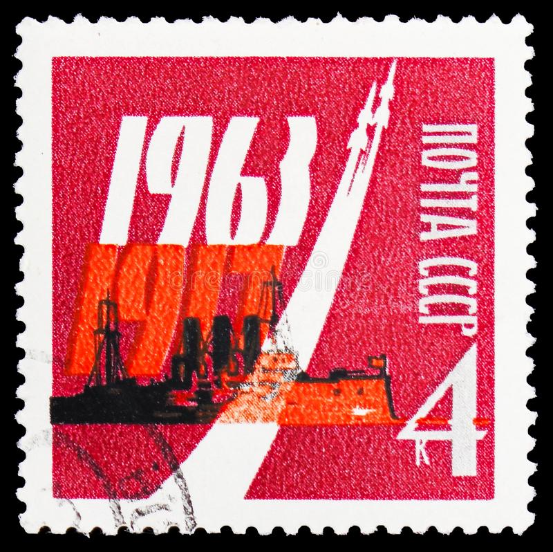 46th anniversary of Great October Revolution, serie, circa 1963. MOSCOW, RUSSIA - JANUARY 4, 2019: A stamp printed in USSR (Russia) devoted to 46th anniversary stock photos