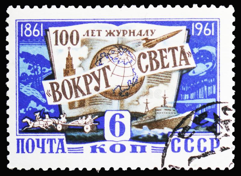 100th anniversary of the scientific magazine 'Vokrug Sveta ', serie, circa 1961. MOSCOW, RUSSIA - JANUARY 4, 2019: A stamp printed in USSR (Russia) devoted to royalty free stock photography