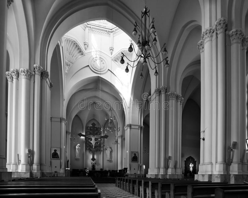 Catholic cathedral black and white strict style royalty free stock photo
