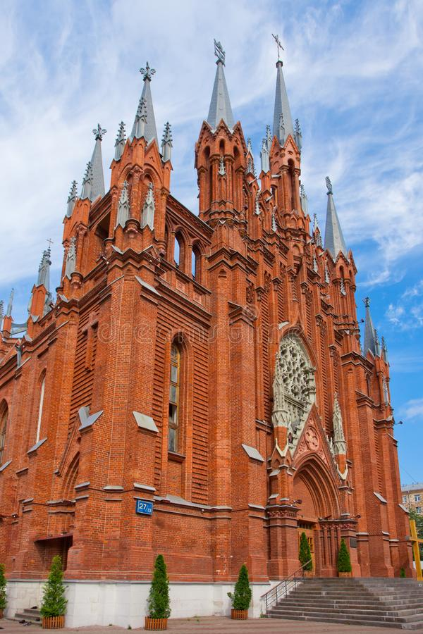 The facade of the Gothic cathedral on the side. royalty free stock image