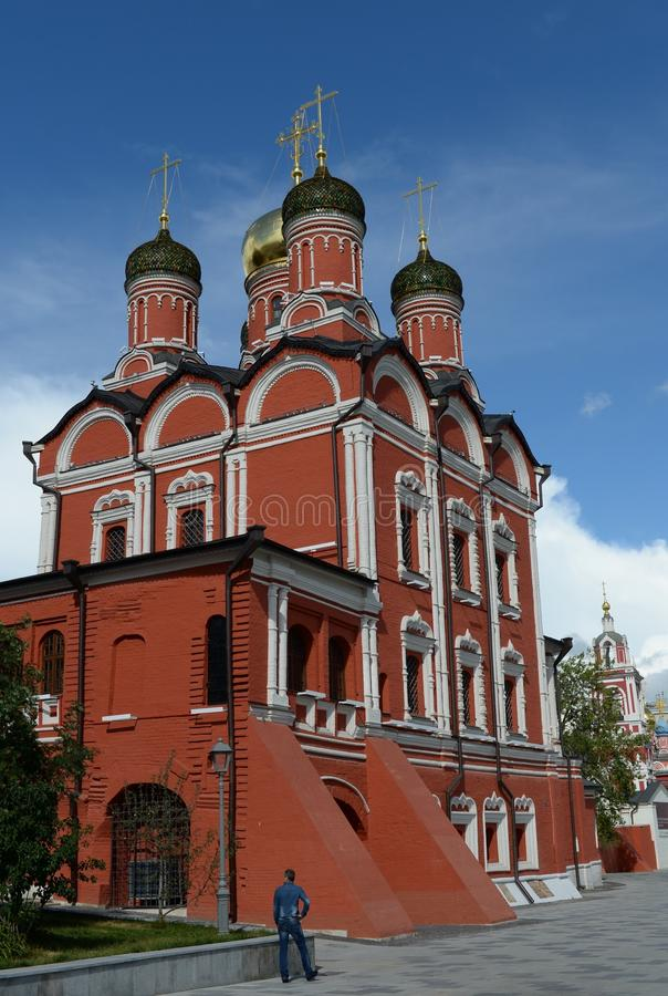 Cathedral of the mother of God of the former Znamensky monastery in the natural landscape Park `Zaryadye` in Moscow royalty free stock photography