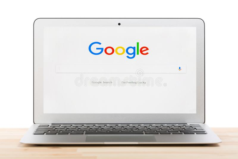 Moscow, Russia - July, 2018: Google start web homepage on laptop display against isolated background. Google is an American world royalty free stock photography