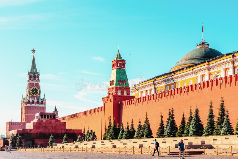 Moscow, Kremlin Wall Towers in Moscow.Russia. MOSCOW, RUSSIA - July 26, 2017: Moscow, Kremlin Wall Towers in Moscow.Russia royalty free stock photos