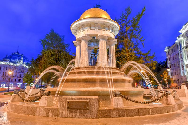 Alexander Pushkin and Natalia Goncharova Fountain - Moscow, Russia. Moscow, Russia - July 6, 2019: The monument fountain-rotunda to Alexander Pushkin and Natalia stock photos