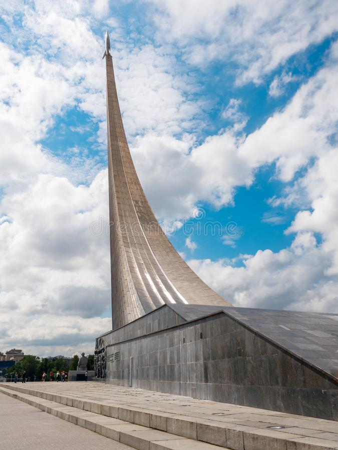 Moscow, Russia - July 2016: The Museum of cosmonautics at VDNKH. Monument to conquerors of space in Moscow. View of the stock photography