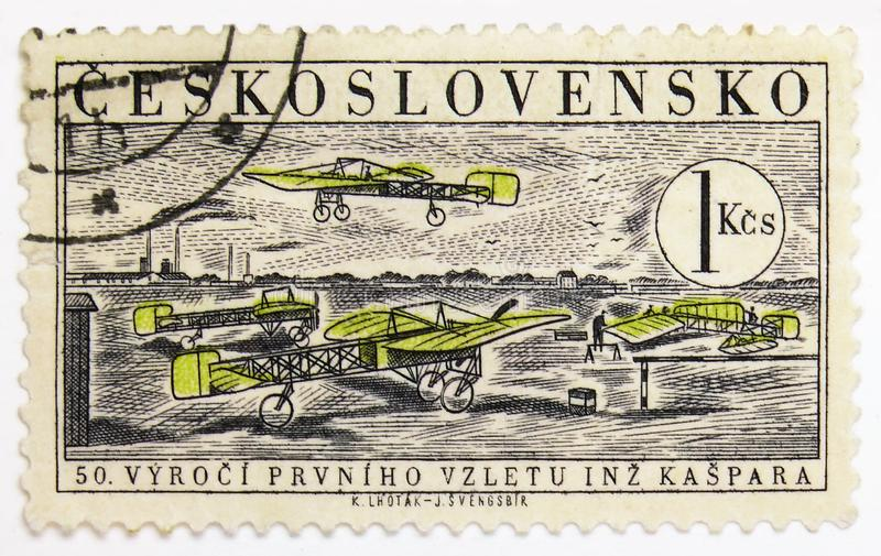 Bleriot XI, First Flight of Jan Kaspar, 50th Anniversary serie, circa 1959. MOSCOW, RUSSIA - JULY 15, 2019: Postage stamp printed in Czechoslovakia shows Bleriot royalty free stock photography