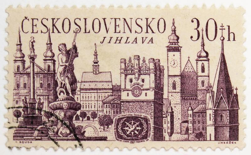 Jihlava, International Tourism Year 1967 serie, circa 1967. MOSCOW, RUSSIA - JULY 15, 2019: Postage stamp printed in Czechoslovakia shows Jihlava, International royalty free stock photography