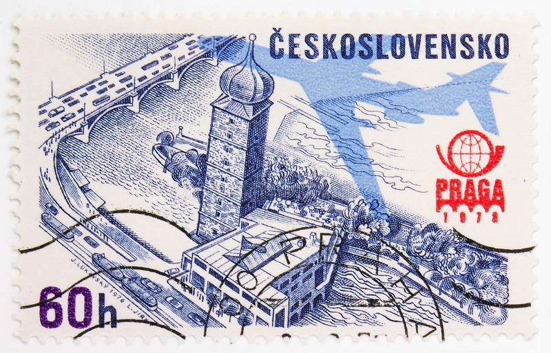 Philatelic Exhibition Praga 1978, serie, circa 1976. MOSCOW, RUSSIA - JULY 15, 2019: Postage stamp printed in Czechoslovakia shows Philatelic Exhibition Praga royalty free stock image